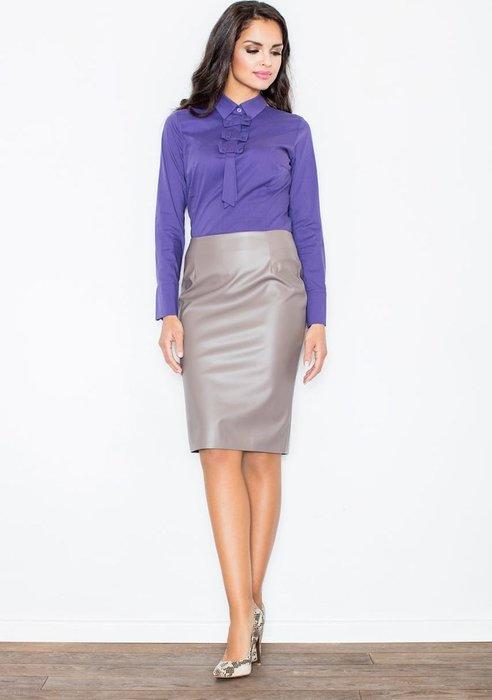 FIGL Béžová sukně z lesklého materiálu M183 velikost  L  d8734a31fd