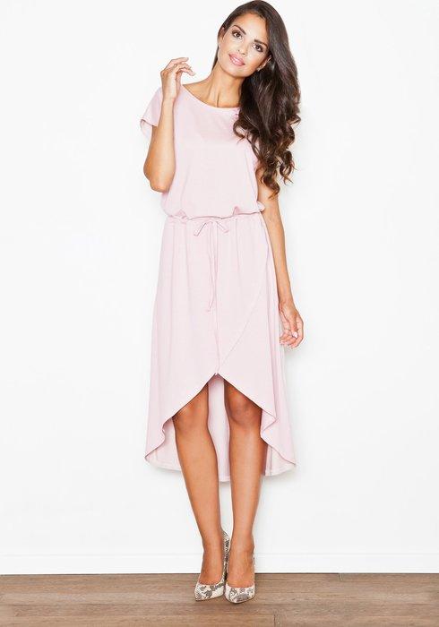872679a08064 Figl Dámské růžové asymetrické šaty M394 velikost  L