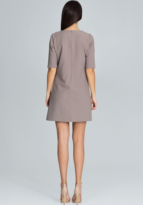 49958108170a Figl Kávové šaty s volánky M618 velikost  M