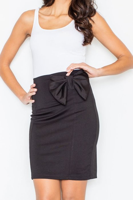 FIGL Lesklá černá sukně s mašlí M080 velikost  L  de2eb6f1b2