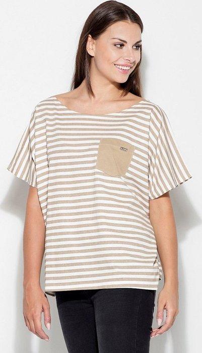 KATRUS Béžové pruhované tričko K165 Beige velikost  L XL  6107d92fcb
