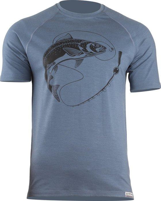 Lasting SALMON 5656 modré pánské vlněné merino triko s tiskem Velikost  L 3ded69c88a