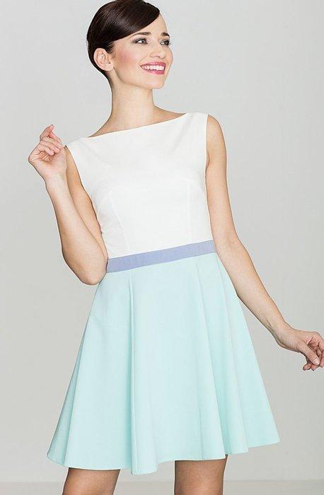 2b83e5584ee6 LENITIF Bílé šaty s mint sukní K083 velikost  L