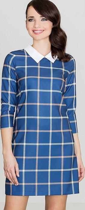 LENITIF Tmavě modré Kárované šaty K424 velikost  L  6e27c1f1bb