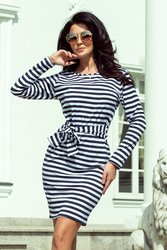 8d307184251 Numoco NUMOCO Bílo-modré pruhované šaty 209-1 velikost  S