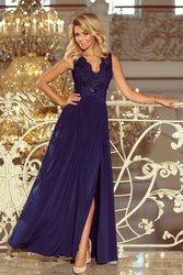 67b441a2a6d Numoco NUMOCO Tmavě modré dlouhé šaty bez rukávů 215-2 velikost  S