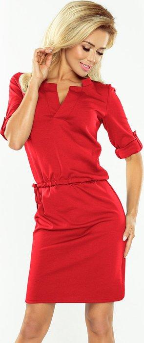0dc604a1dcd NUMOCO Červené šaty AGÁTA s výstřihem do V 161-11 velikost  XS ...
