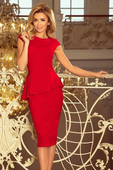 NUMOCO Elegantní červené šaty 192-5 velikost  S  6260c32981