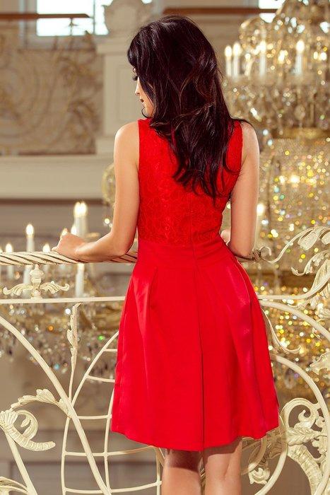 5f7655728c4c NUMOCO Elegantní červené šaty s výstřihem 208-2 velikost  S
